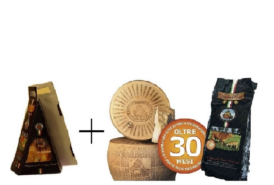 photo 2 Gift BOXES (2 x 1Kg) - Parmigiano Reggiano Cheese Vacche Rosse Vacuum of 1Kg -  Over 30 Months