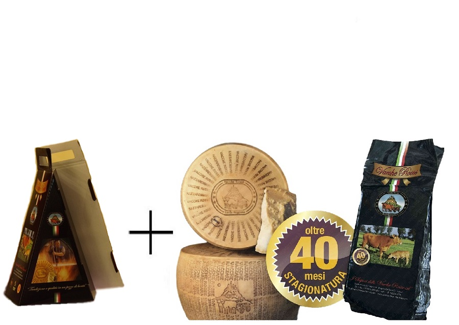photo 2 Gift BOXES (2 x 0,5Kg) - Parmigiano Reggiano Cheese Vacche Rosse Vacuum 0,5 Kg - Over 40 Months RI