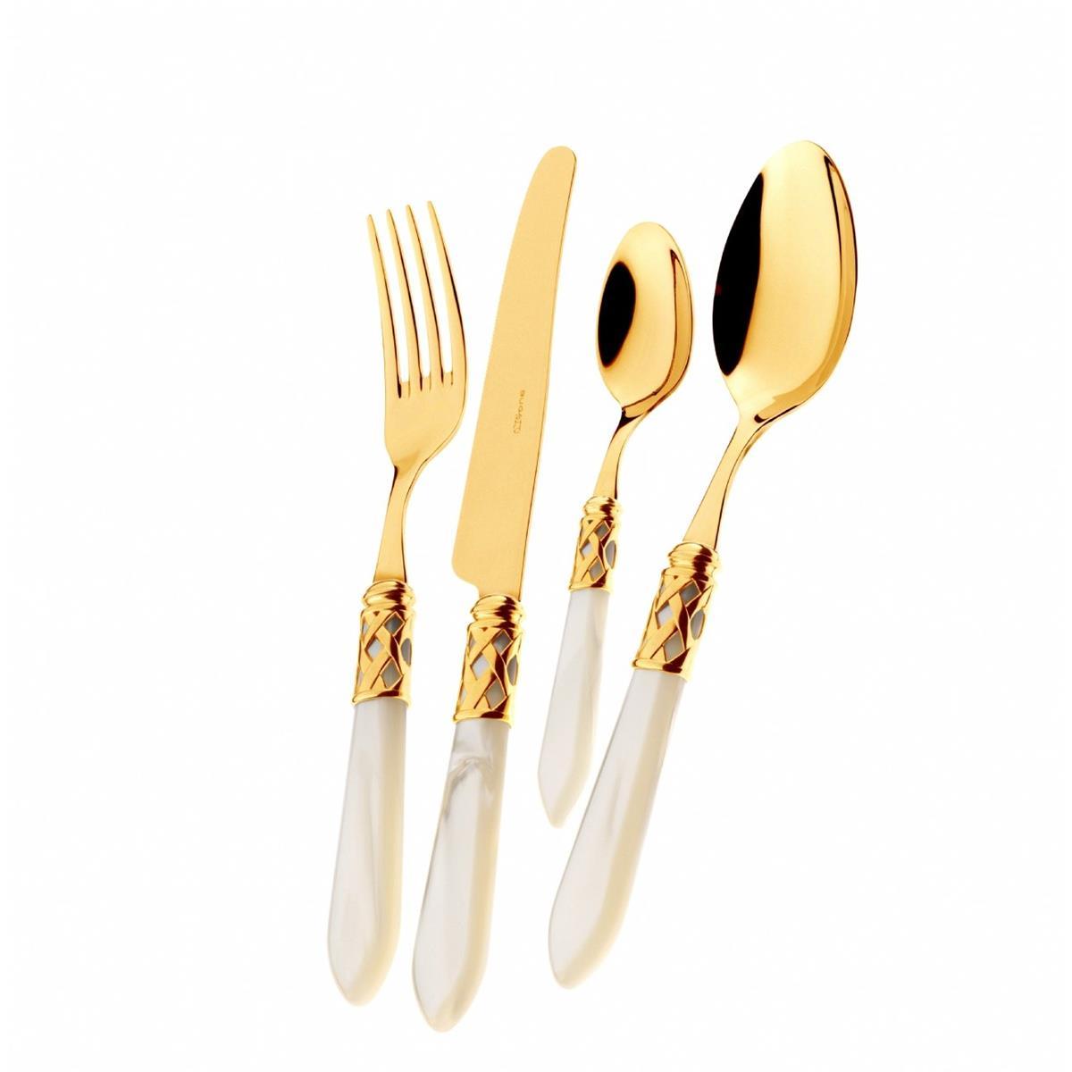 ALADDIN Besteckset - 31 Stücke - Elfenbein (24 kt Gold Plattiert)