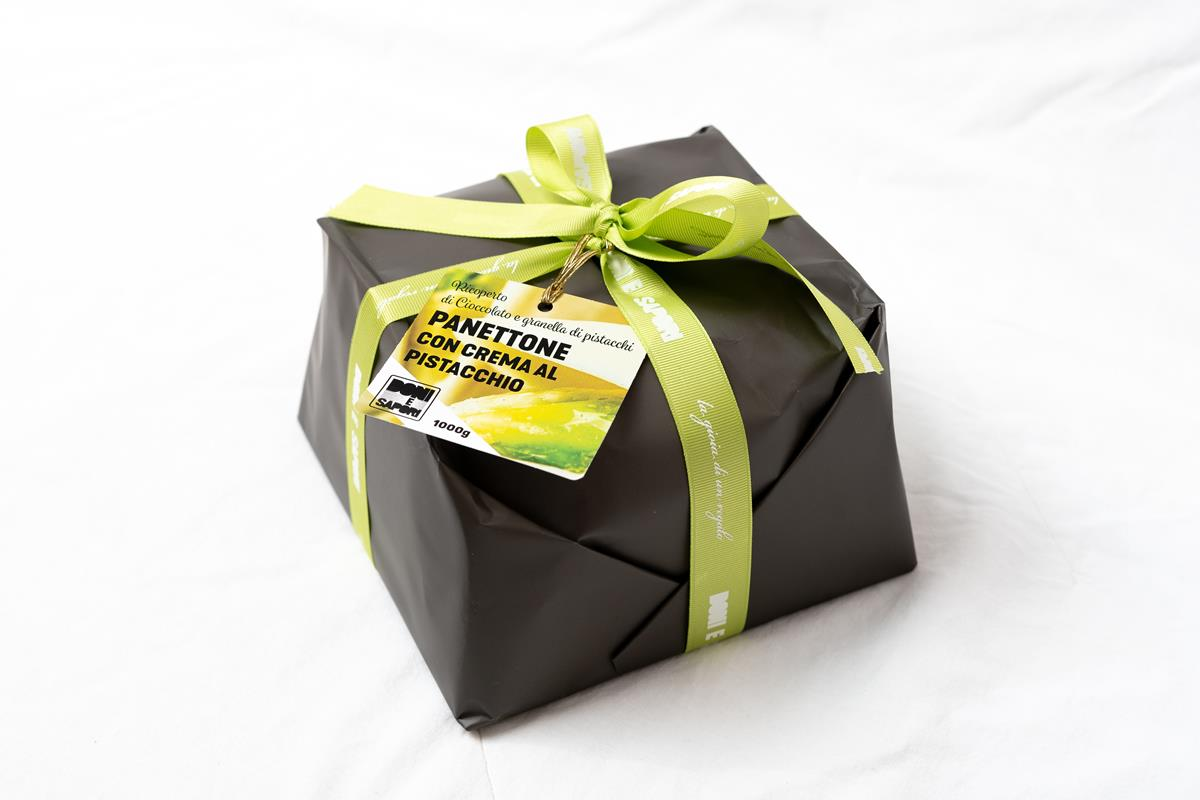 Artisan Italian Panettone with Pistachio Cream and Covered with Dark Chocolate - 1 Kg - Gift Wrapped