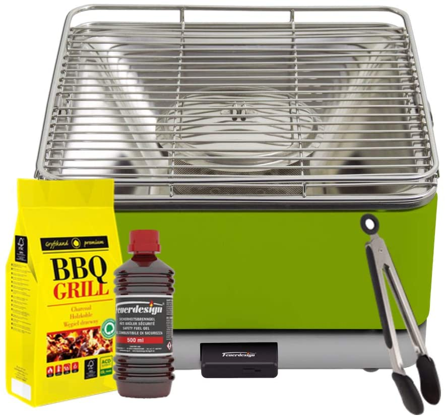 FEUERDESIGN - TEIDE Grill GREEN - Kit with IGNITION GEL + CHARCOAL 3 Kg + TONG