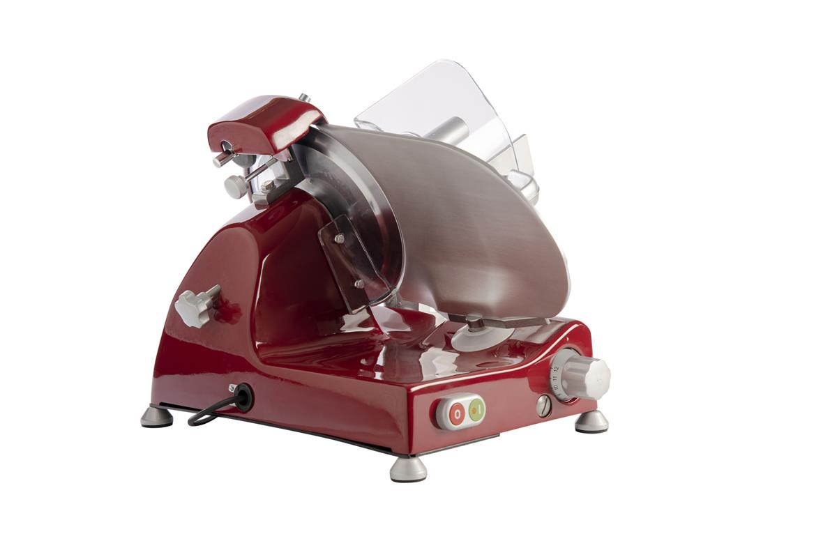 Affettatrice elettrica Curvy Line C220-Lama 22cm-Affilatoio staccato+Pomoli Metallizati - Rosso