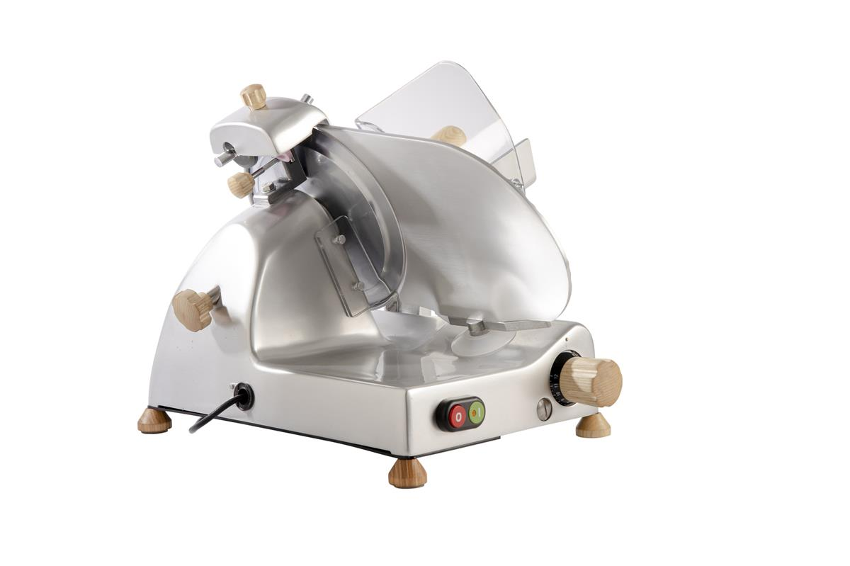 Affettatrice elettrica Curvy Line C220 - Lama 22cm - Affilatoio fisso - Pomoli in Legno - Acciaio