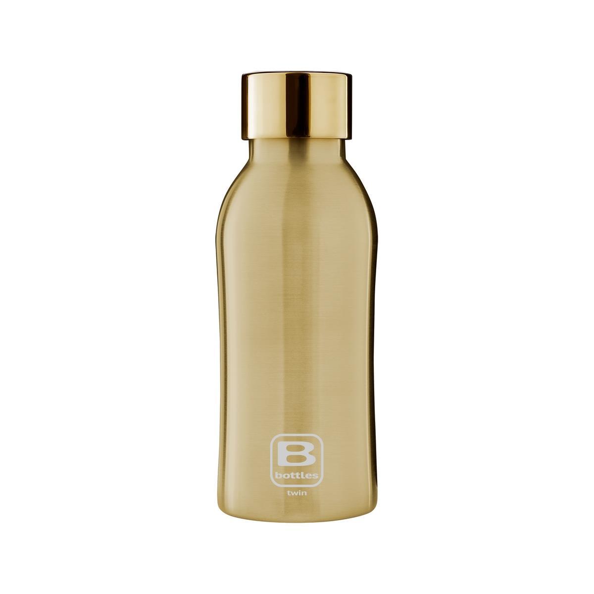 B Bottles Twin - Yellow Gold Brushed - 350 ml - Bottiglia Termica doppia parete in acc. inox 18/10