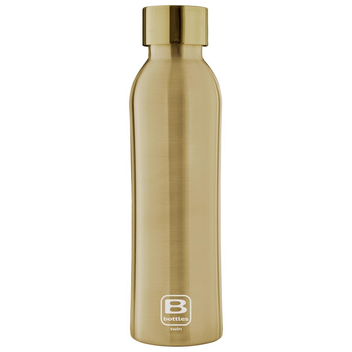 B Bottles Twin - Yellow Gold Brushed - 500 ml - Bottiglia Termica doppia parete in acc. inox 18/10