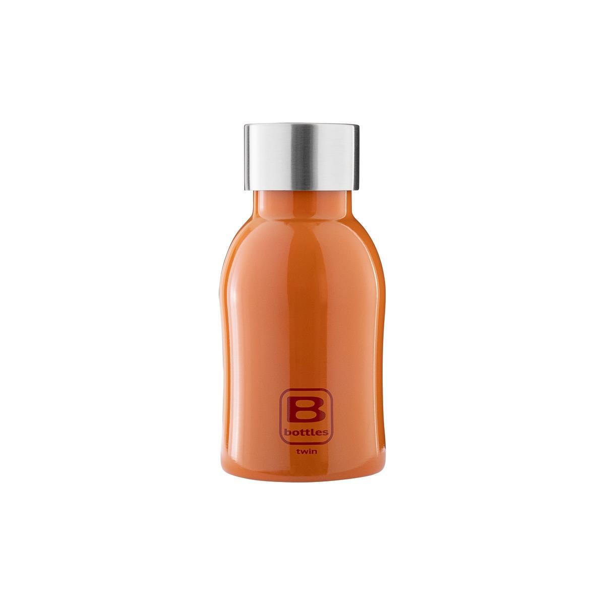 B Bottles Twin - Orange Lucido - 250 ml - Bottiglia Termica a doppia parete in acciaio inox 18/10