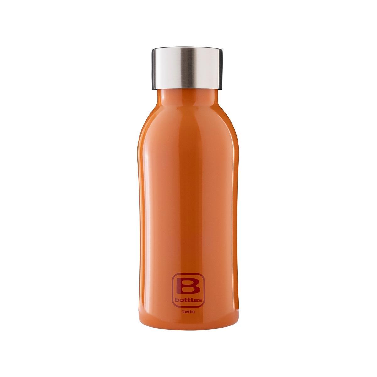 B Bottles Twin - Orange Lucido - 350 ml - Bottiglia Termica a doppia parete in acciaio inox 18/10