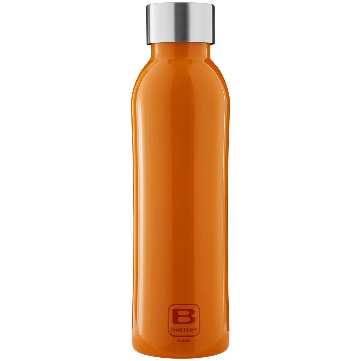 B Bottles Twin - Orange Lucido - 500 ml - Bottiglia Termica a doppia parete in acciaio inox 18/10