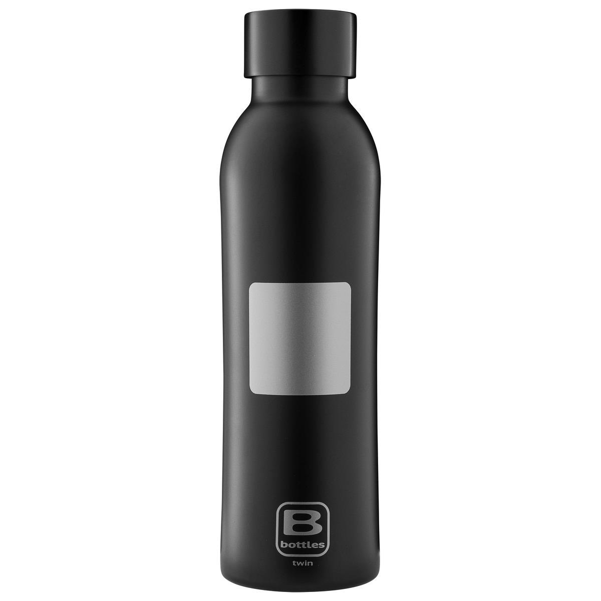 B Bottles Twin - Square Silver - 500 ml - Bottiglia Termica a doppia parete in acciaio inox 18/10