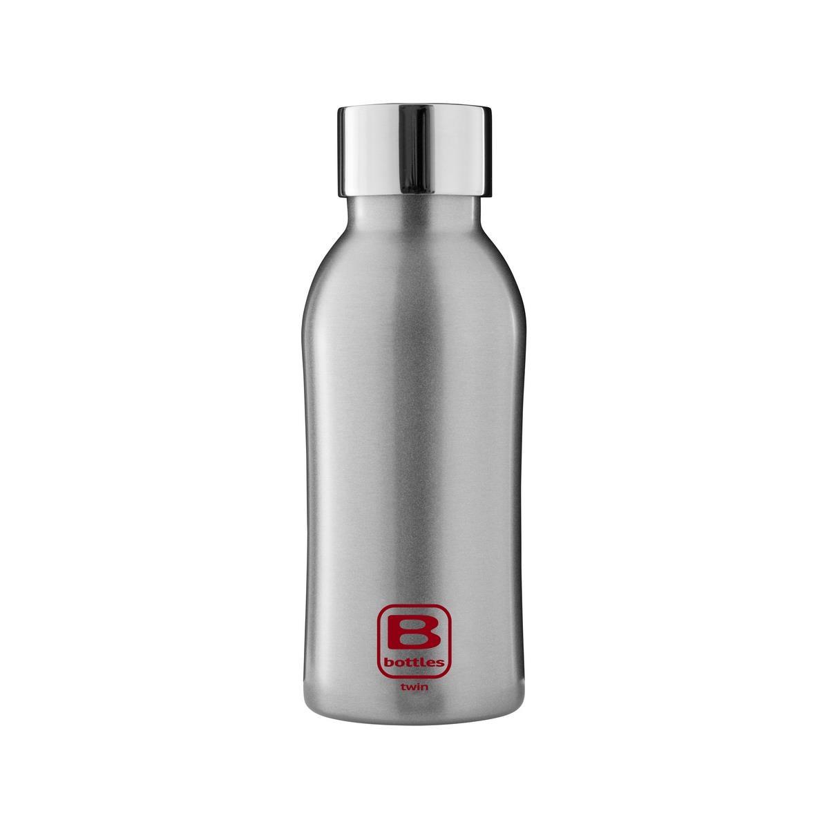 B Bottles Twin - Silver Brushed - 350 ml - Bottiglia Termica a doppia parete in acciaio inox 18/10