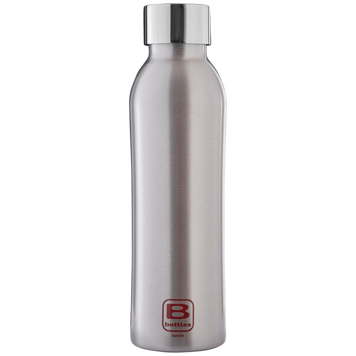B Bottles Twin - Silver Brushed - 500 ml - Bottiglia Termica a doppia parete in acciaio inox 18/10