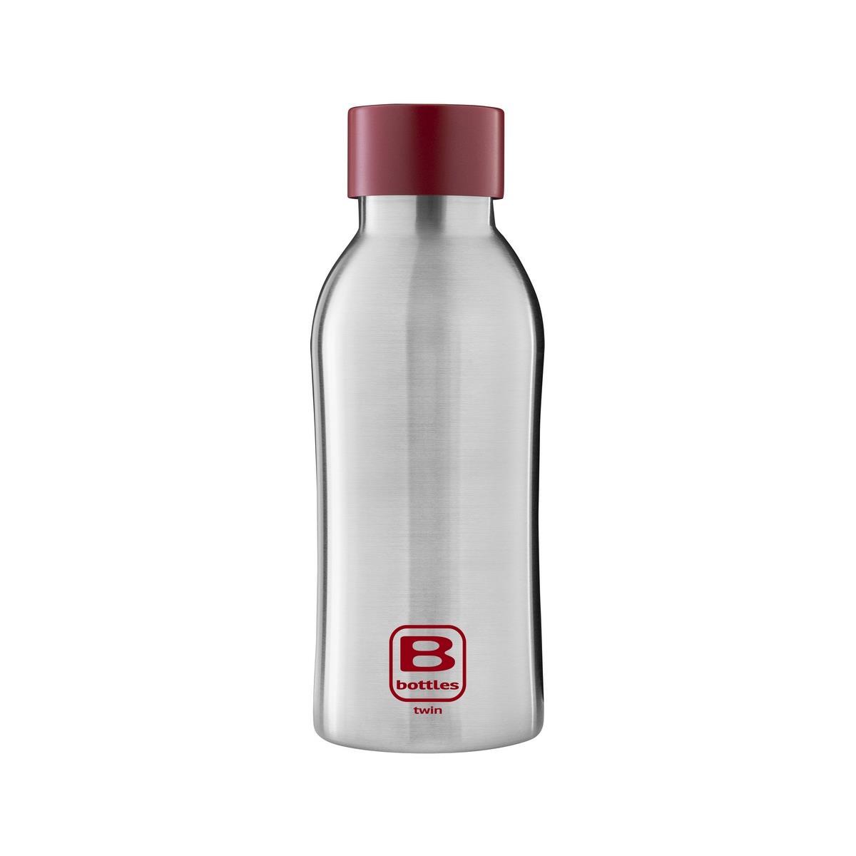B Bottles Twin - Steel & Red - 350 ml - Bottiglia Termica a doppia parete in acciaio inox 18/10