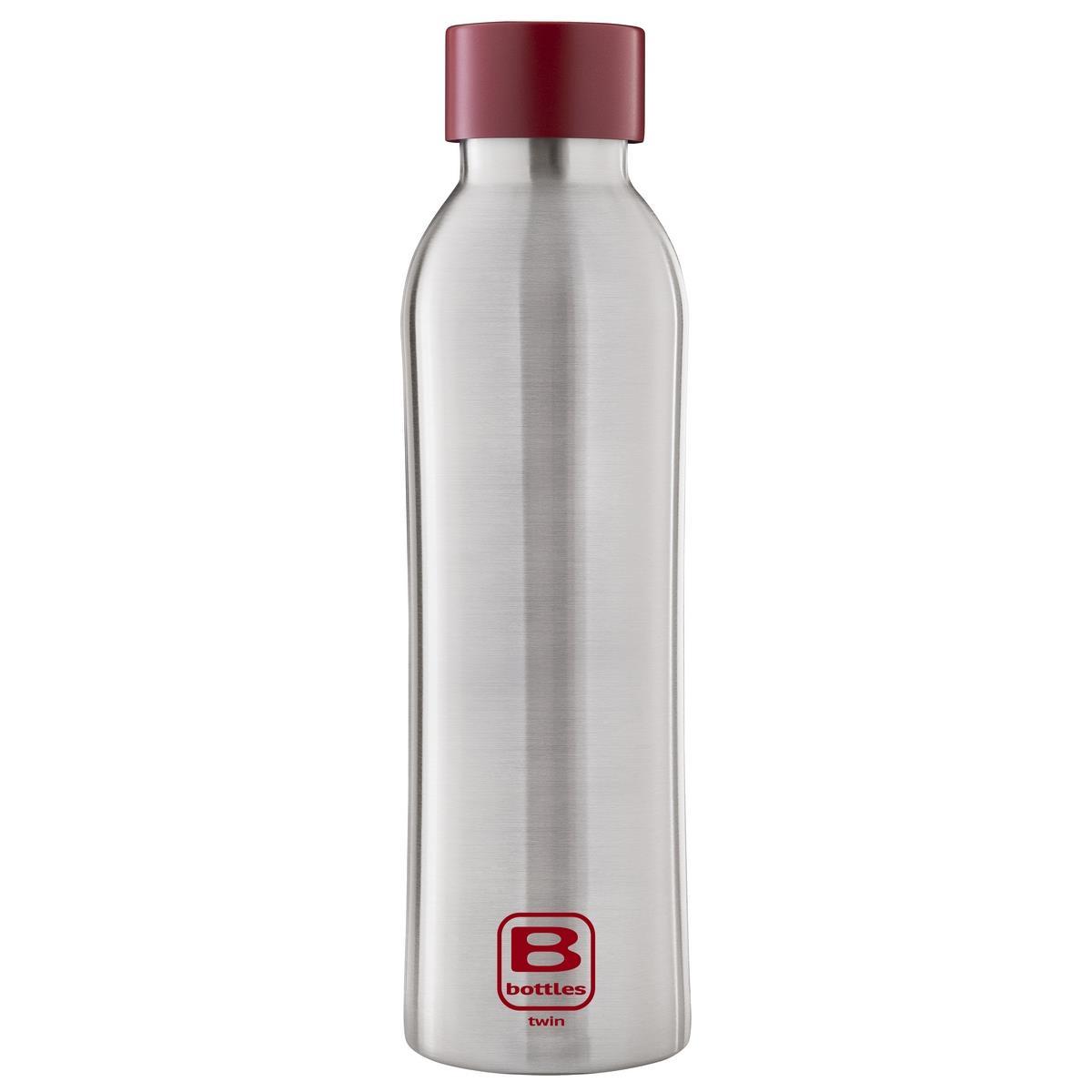 B Bottles Twin - Steel & Red - 500 ml - Bottiglia Termica a doppia parete in acciaio inox 18/10
