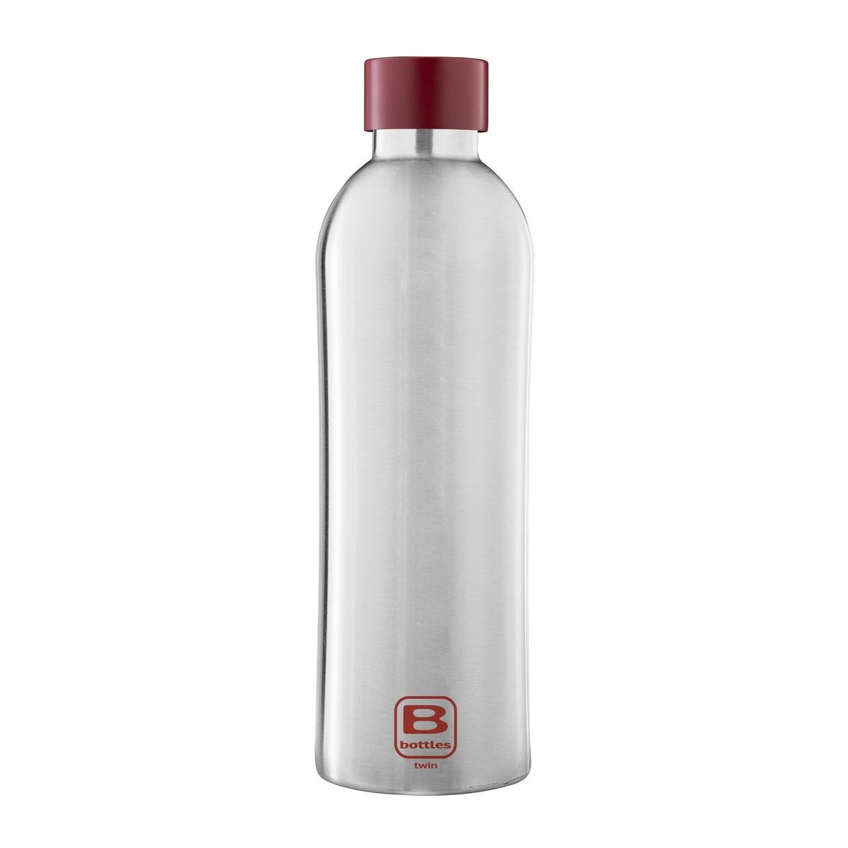 B Bottles Twin - Steel & Red - 800 ml - Bottiglia Termica a doppia parete in acciaio inox 18/10