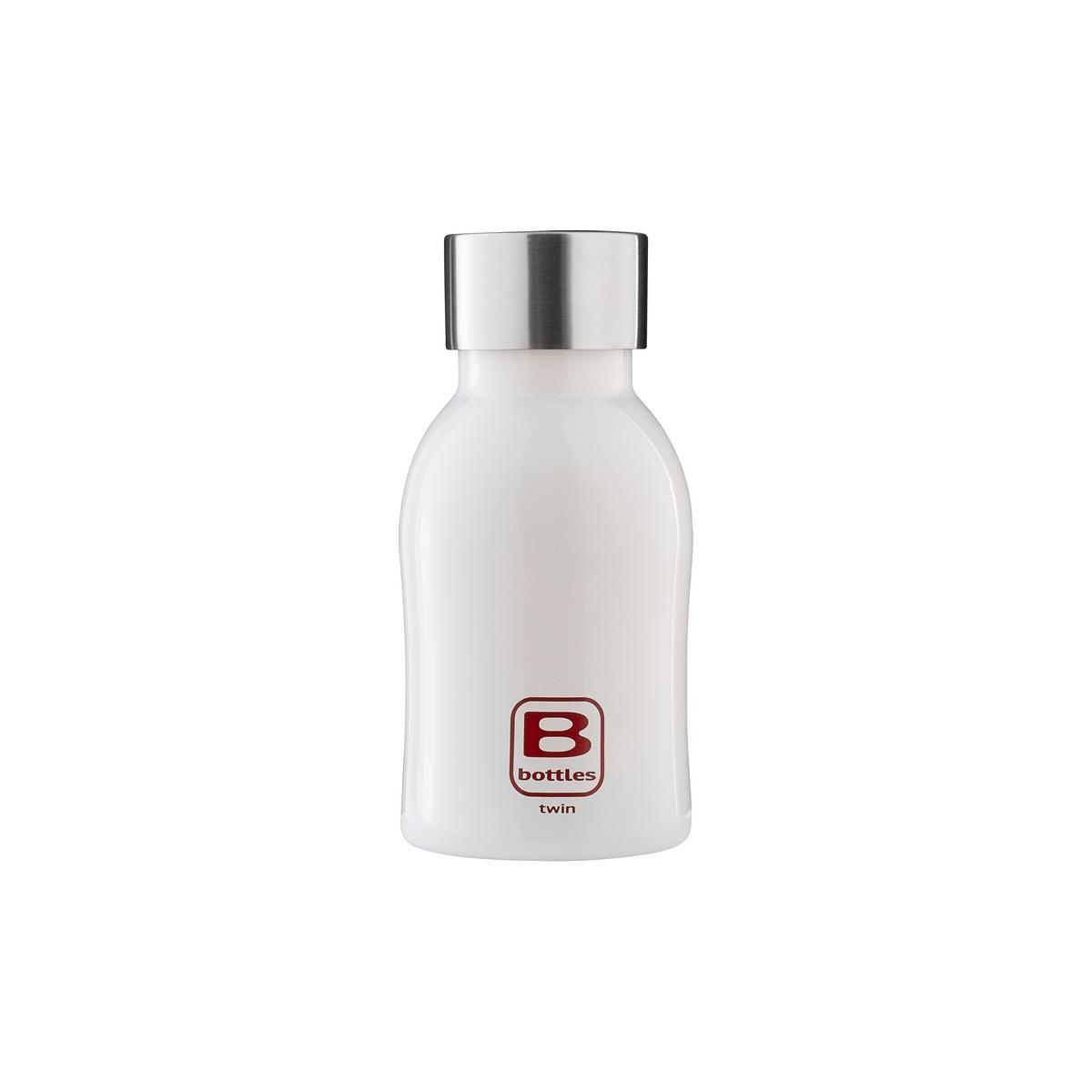 B Bottles Twin - Bianco Bright - 250 ml - Bottiglia Termica a doppia parete in acciaio inox 18/10