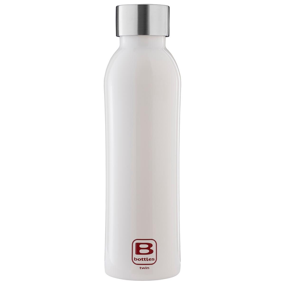 B Bottles Twin - Bianco Bright - 500 ml - Bottiglia Termica a doppia parete in acciaio inox 18/10