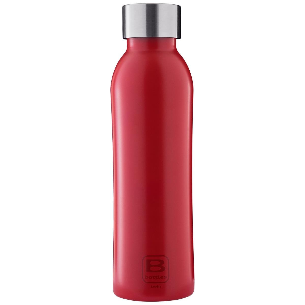 B Bottles Twin - Rosso - 500 ml - Bottiglia Termica a doppia parete in acciaio inox 18/10