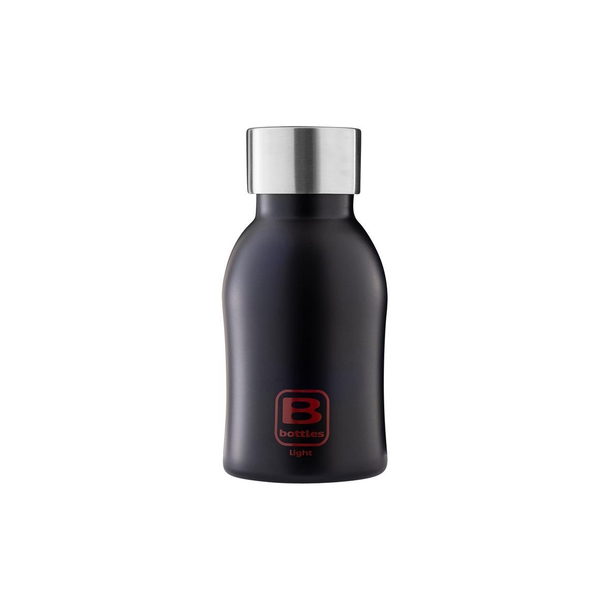 B Bottles Light - Nero Opaco - 350 ml - Bottiglia in acciaio inox 18/10 ultra leggera e compatta
