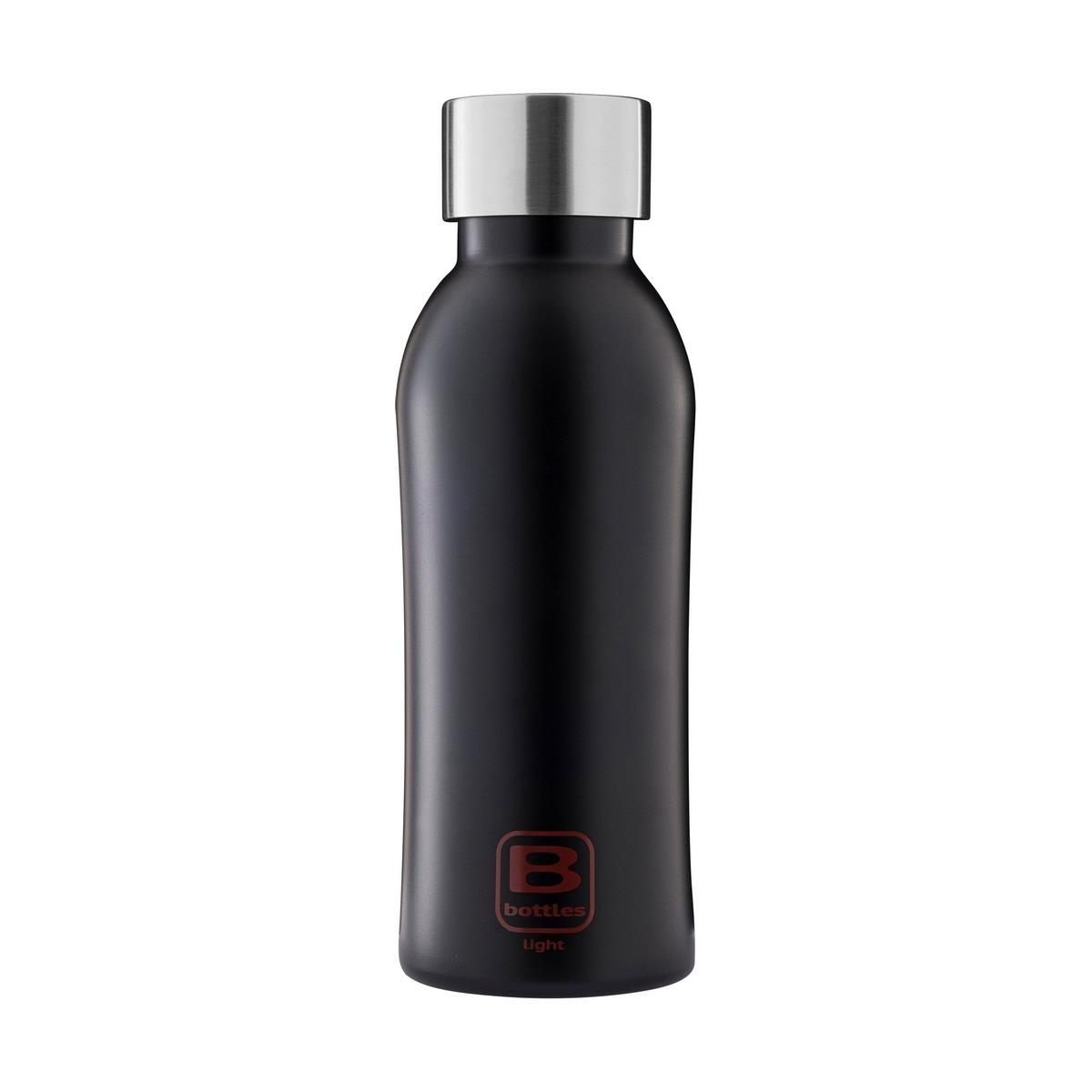B Bottles Light - Nero Opaco - 530 ml - Bottiglia in acciaio inox 18/10 ultra leggera e compatta