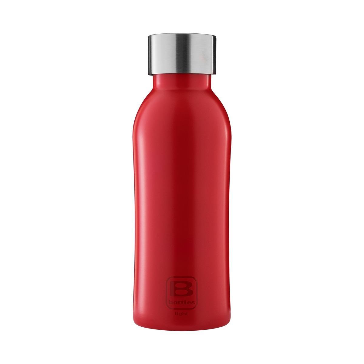 B Bottles Light - Rosso - 530 ml - Bottiglia in acciaio inox 18/10 ultra leggera e compatta