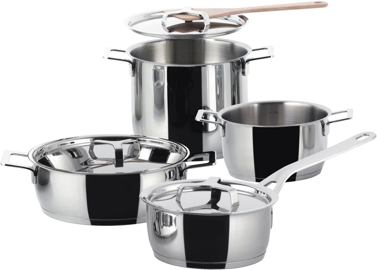 Alessi-Pots & Pans Cookware set in 18/10 stainless steel - 7 pieces