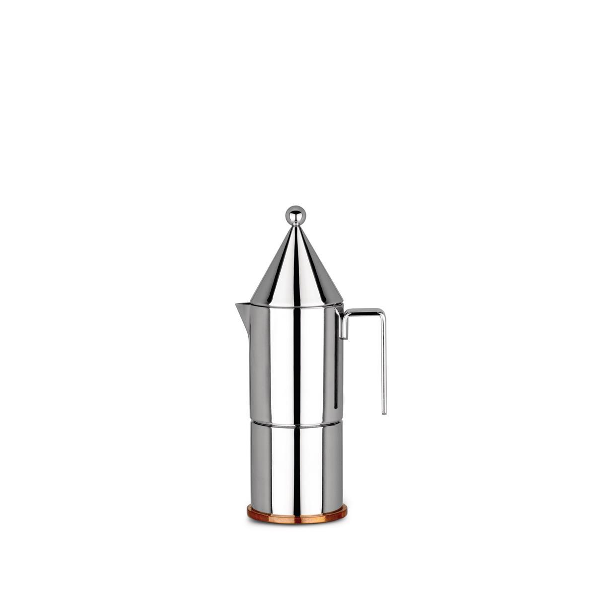 Alessi-La conica Caffettiera espresso in acciaio inox 18/10 3 tazze