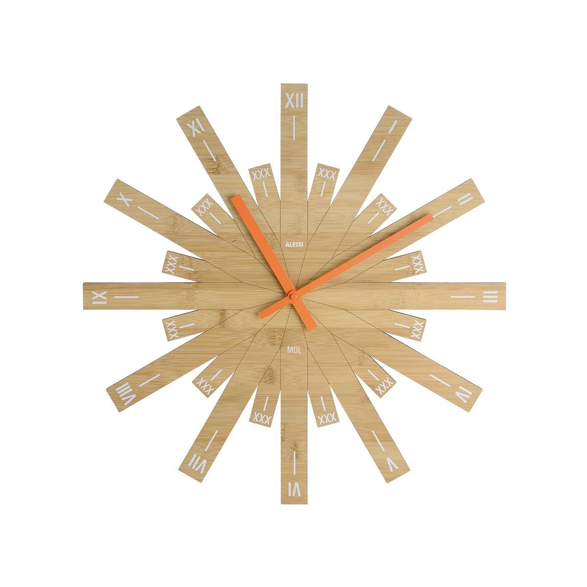 Alessi-Raggiante Bamboo wood wall clock