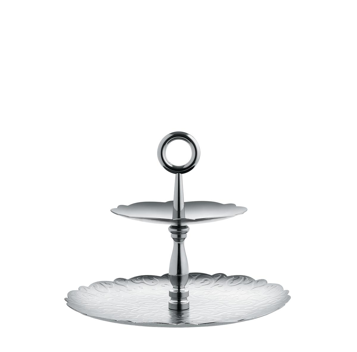 Alessi-Dressed Two-piece stand in 18/10 stainless steel with relief decoration