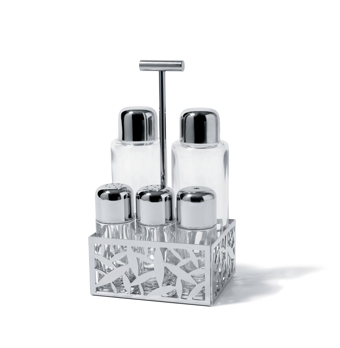 Alessi-CACTUS! Set for oil, vinegar, salt, pepper and spices in 18/10 stainless steel