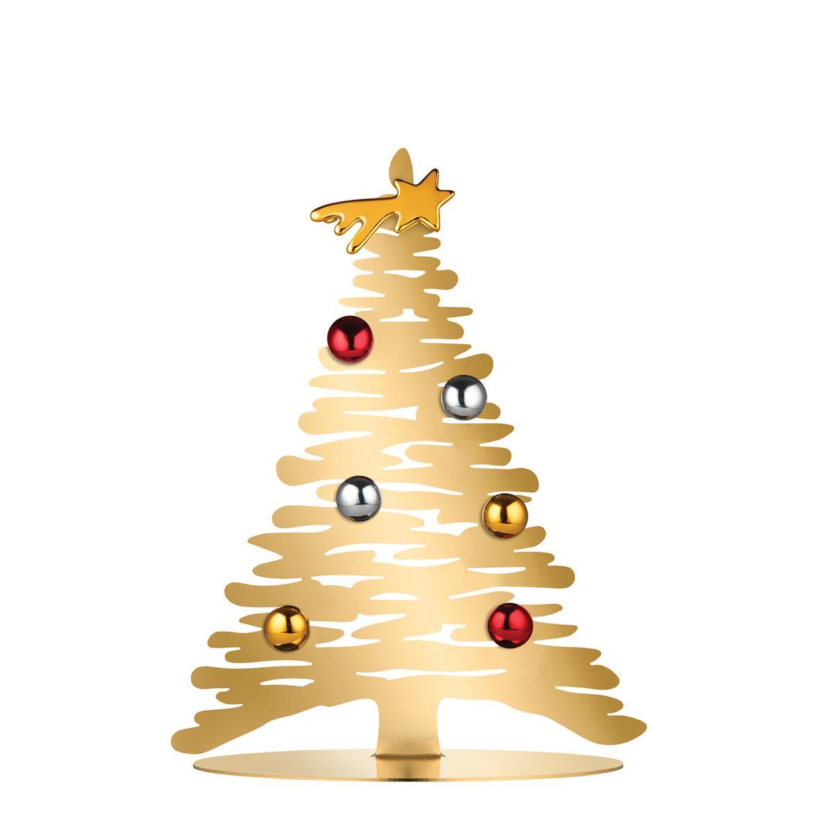 Alessi-Bark for Christmas Decorazione in acciaio dorato con magneti in porcellana