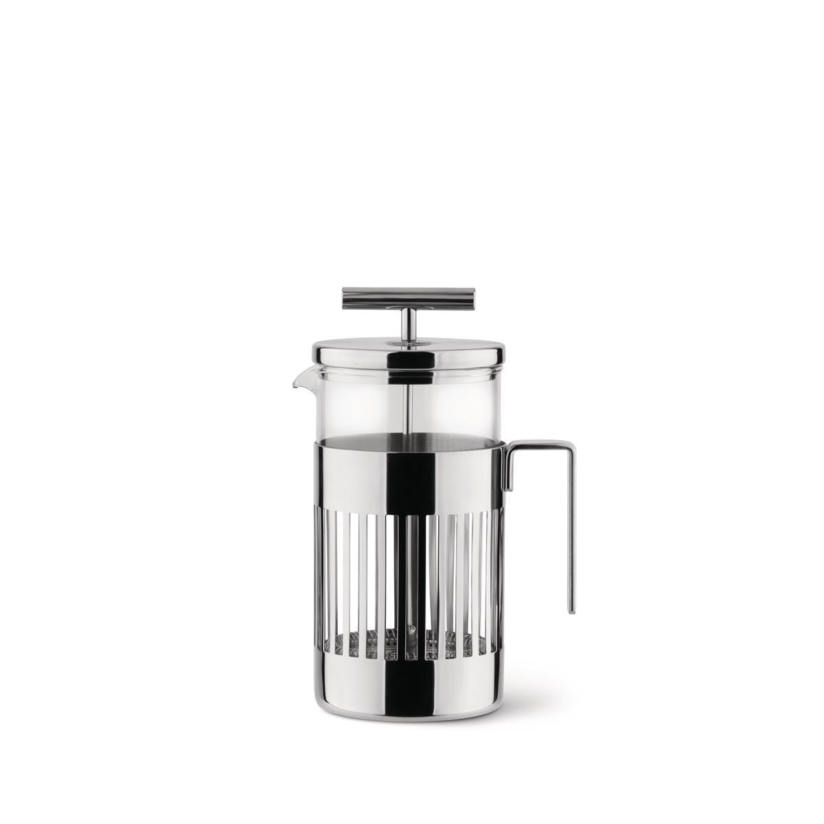 Alessi-Caffettiera a presso-filtro in acciaio inox 18/10-vetro pirofilo 8 tazze
