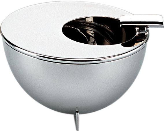 Alessi-Aschenbecher mit runder Öffnung in der Mitte aus poliertem Edelstahl
