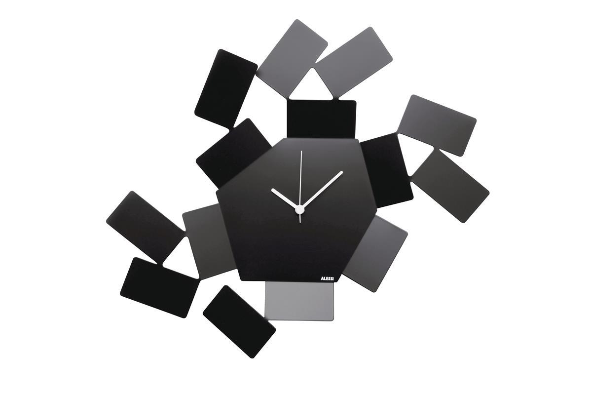 Alessi-La Stanza dello Scirocco Wall clock in steel and resin, black