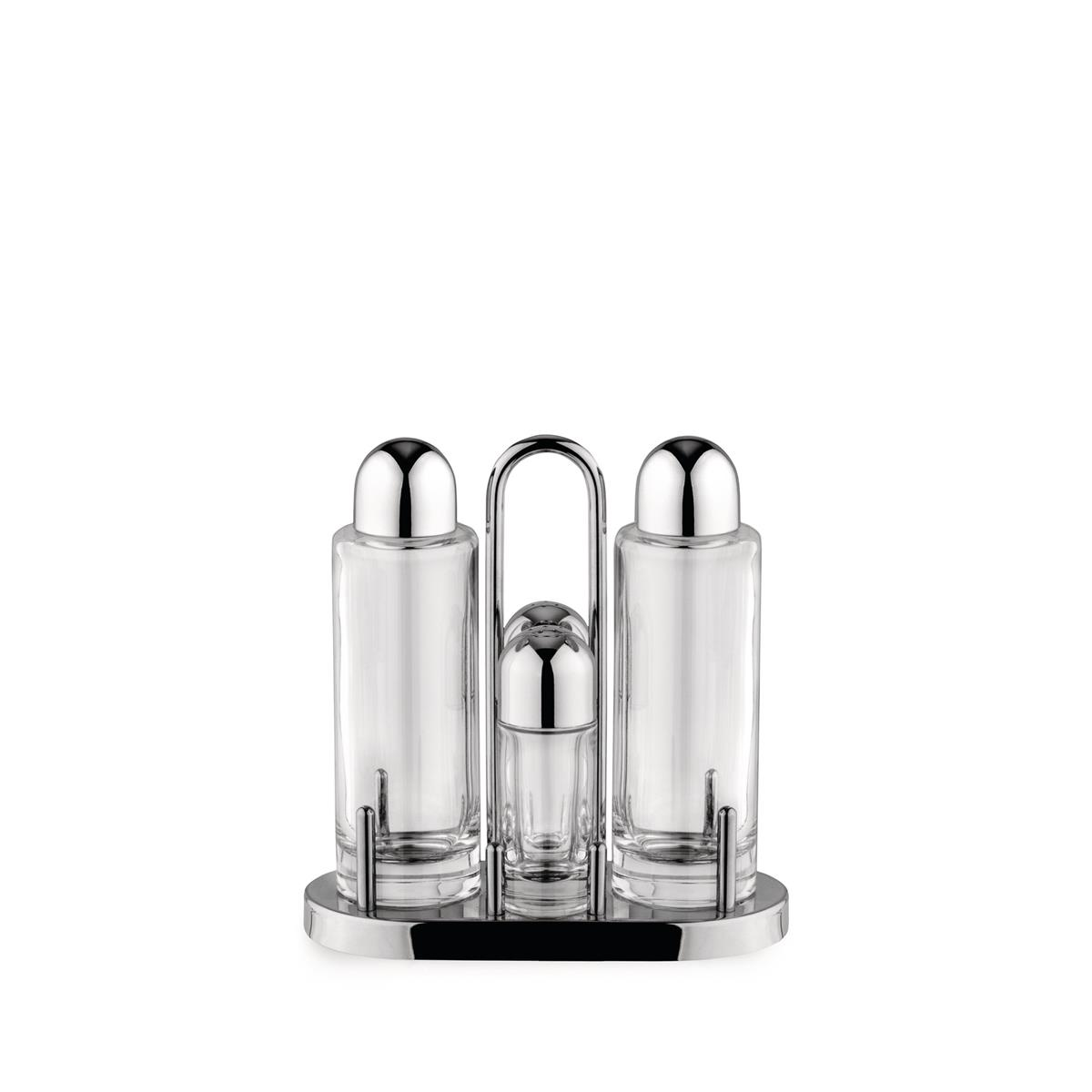 Alessi-Set for oil, vinegar, salt and pepper in 18/10 stainless steel and glass