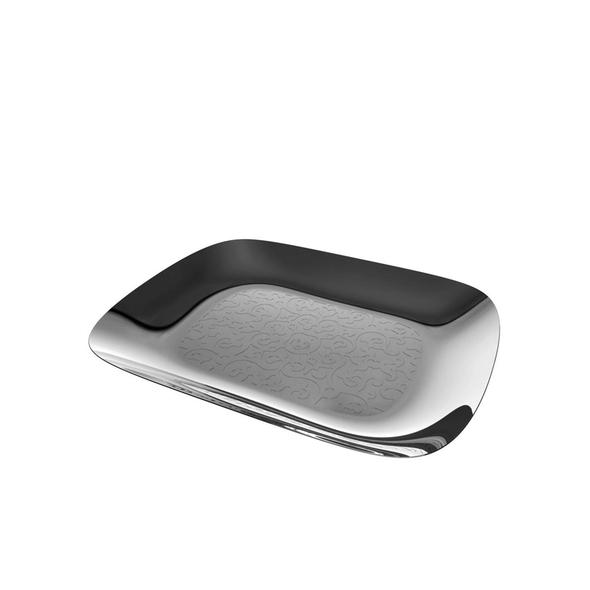 Alessi-Dressed Rectangular tray in 18/10 stainless steel mirror polished with decoration
