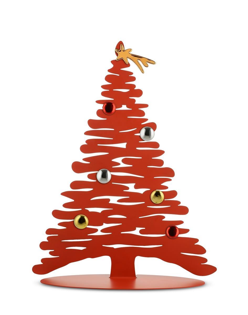 Alessi-Bark for Christmas Decorazione natalizia in acciaio colorato e resina, rosso con magneti in p