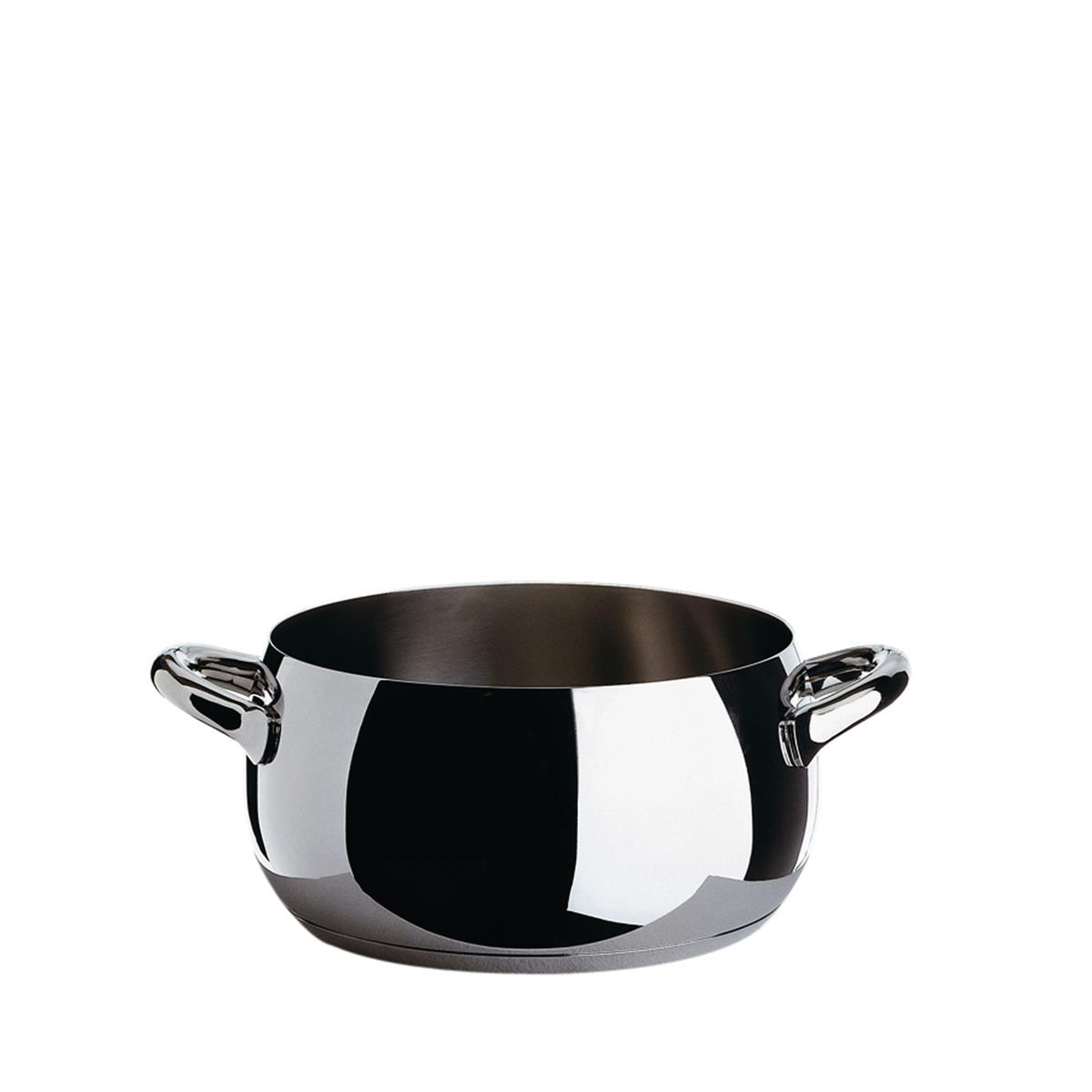 Alessi-Mami Casserole with two handles in 18/10 stainless steel suitable for induction