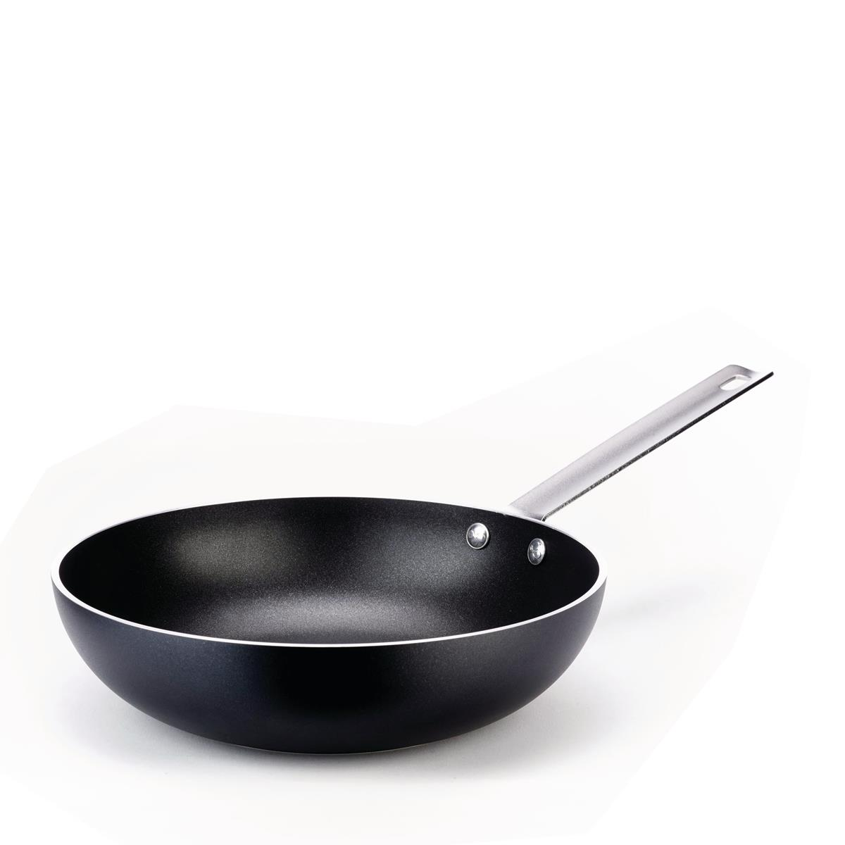 Alessi-Mami 30 High frying pan in non-stick aluminum, black suitable for induction