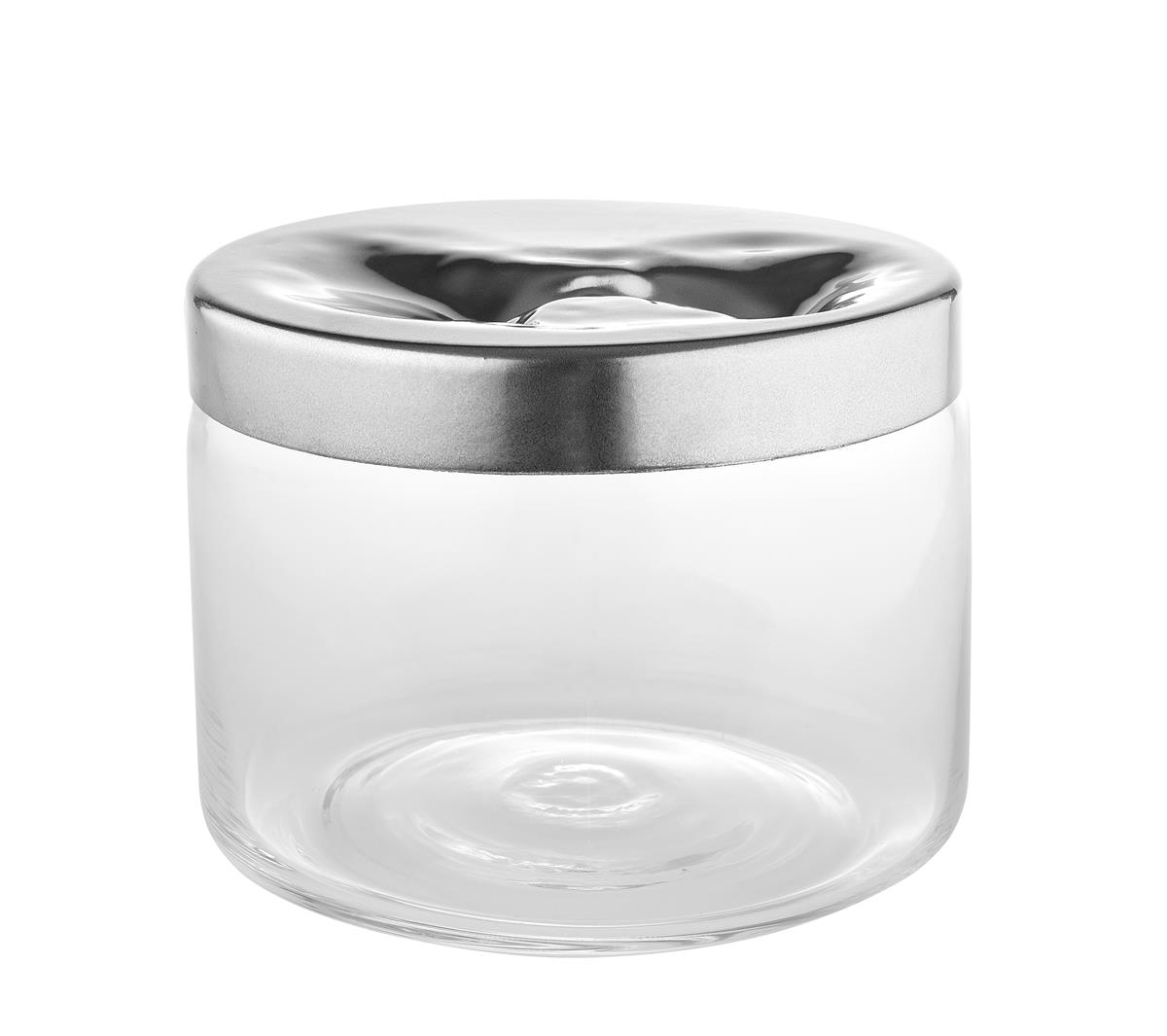 Alessi-Carmeta Glass cookie jar with 18/10 stainless steel lid