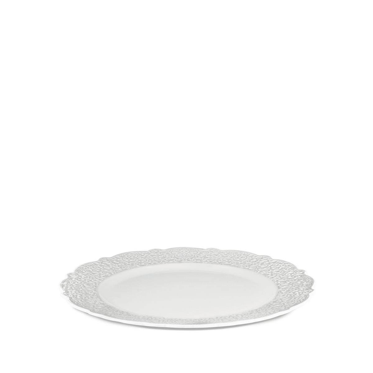 Alessi-Dressed Serving plate in white porcelain with relief decoration