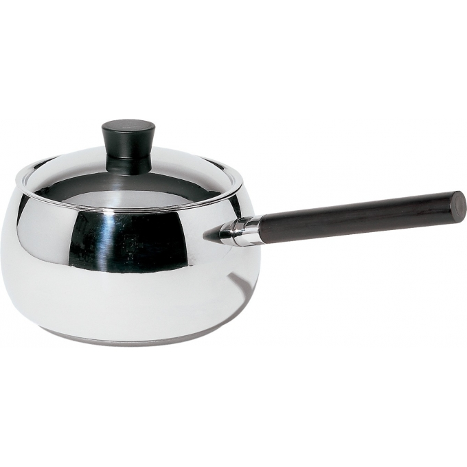 Alessi-Mami Casserole with long handle for bourguignonne in 18/10 stainless steel