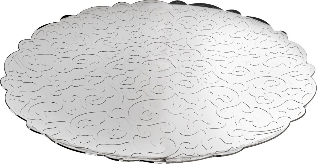 Alessi-Dressed Round tray in 18/10 stainless steel mirror polished with relief decoration