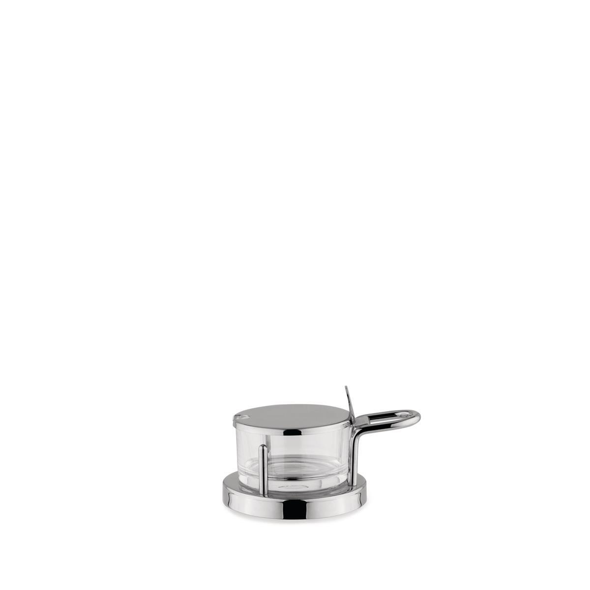 Alessi-Käse-Schale aus spiegelpoliertem und kristallinem Glas aus Edelstahl 18/10