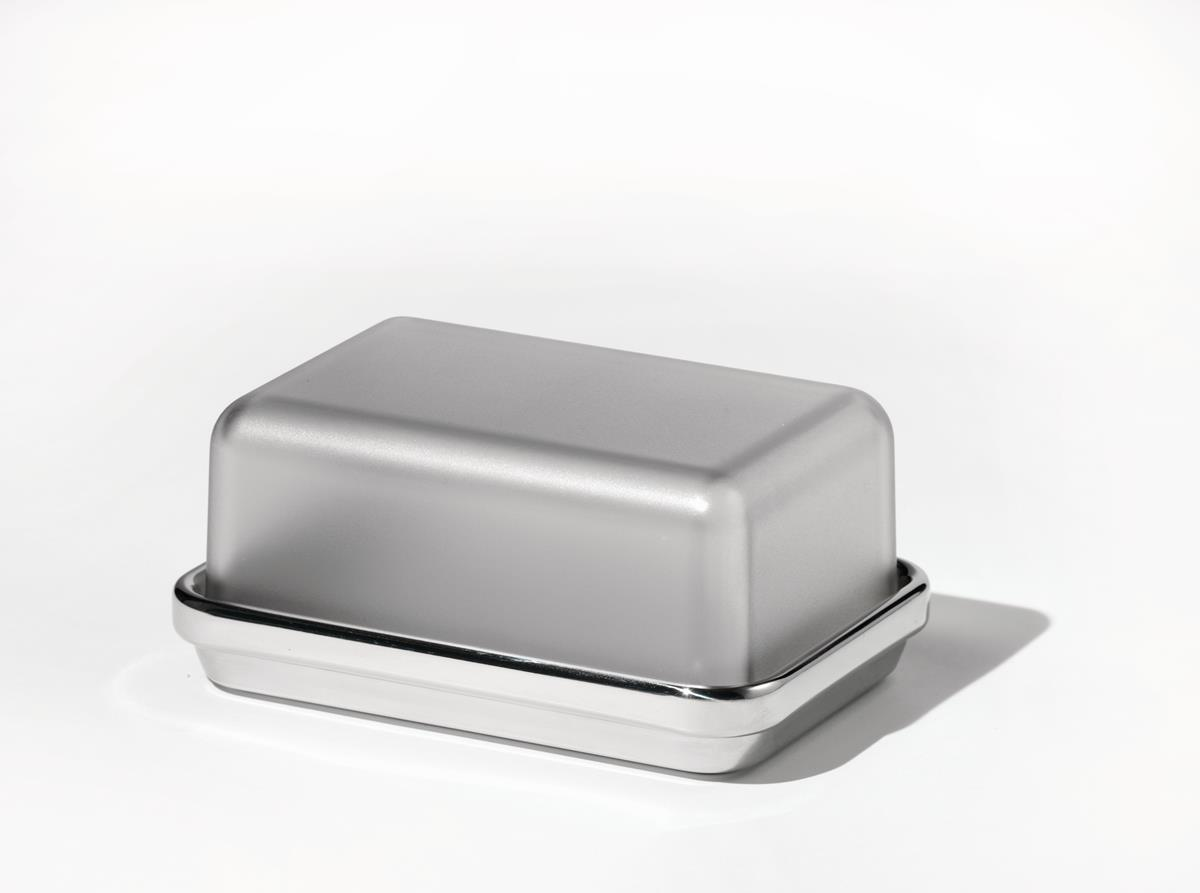 Alessi-Butter dish in polished steel with glass lid