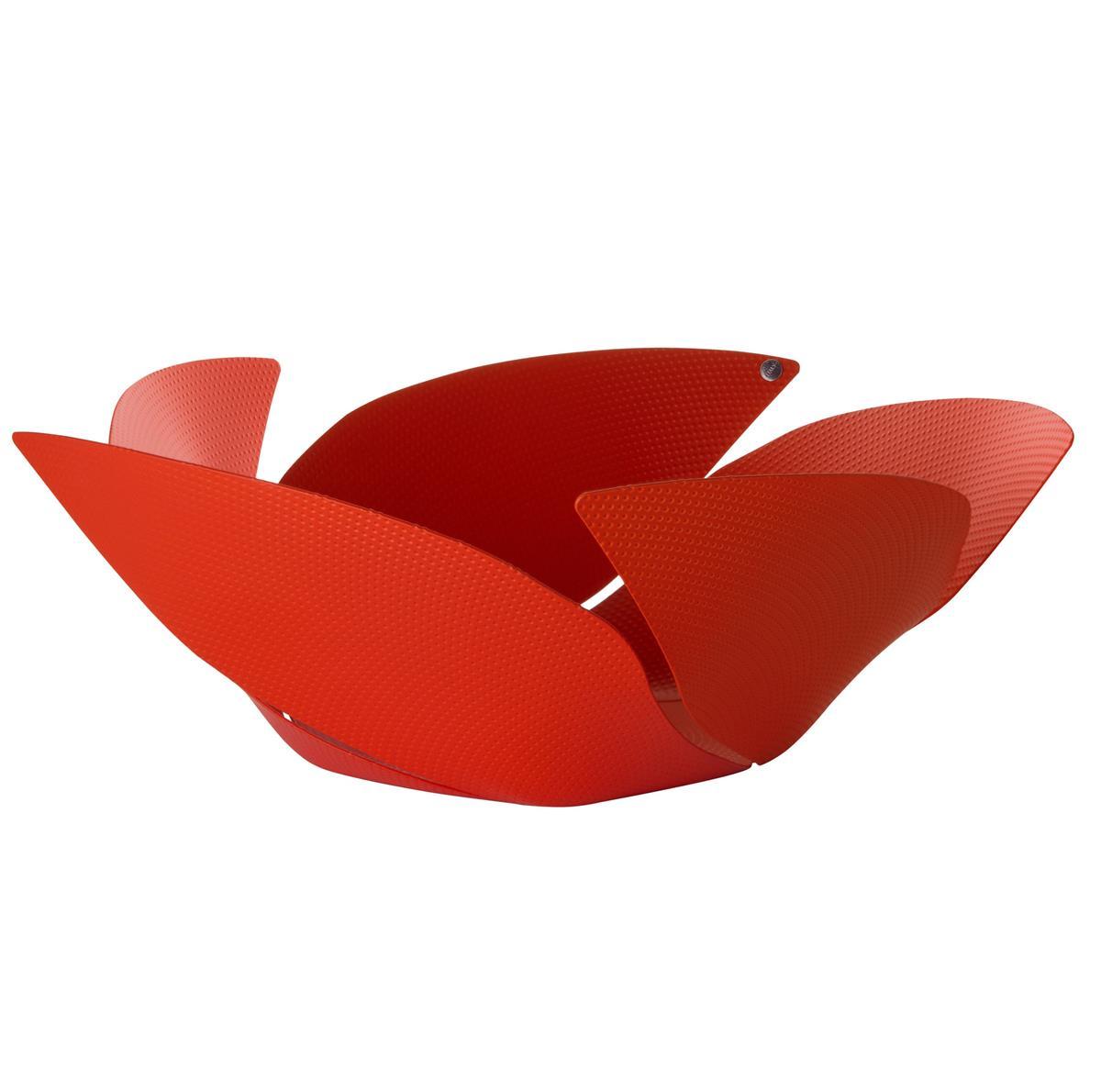 Alessi-Twist Again Obstschale aus Stahl mit Epoxidharz, rot