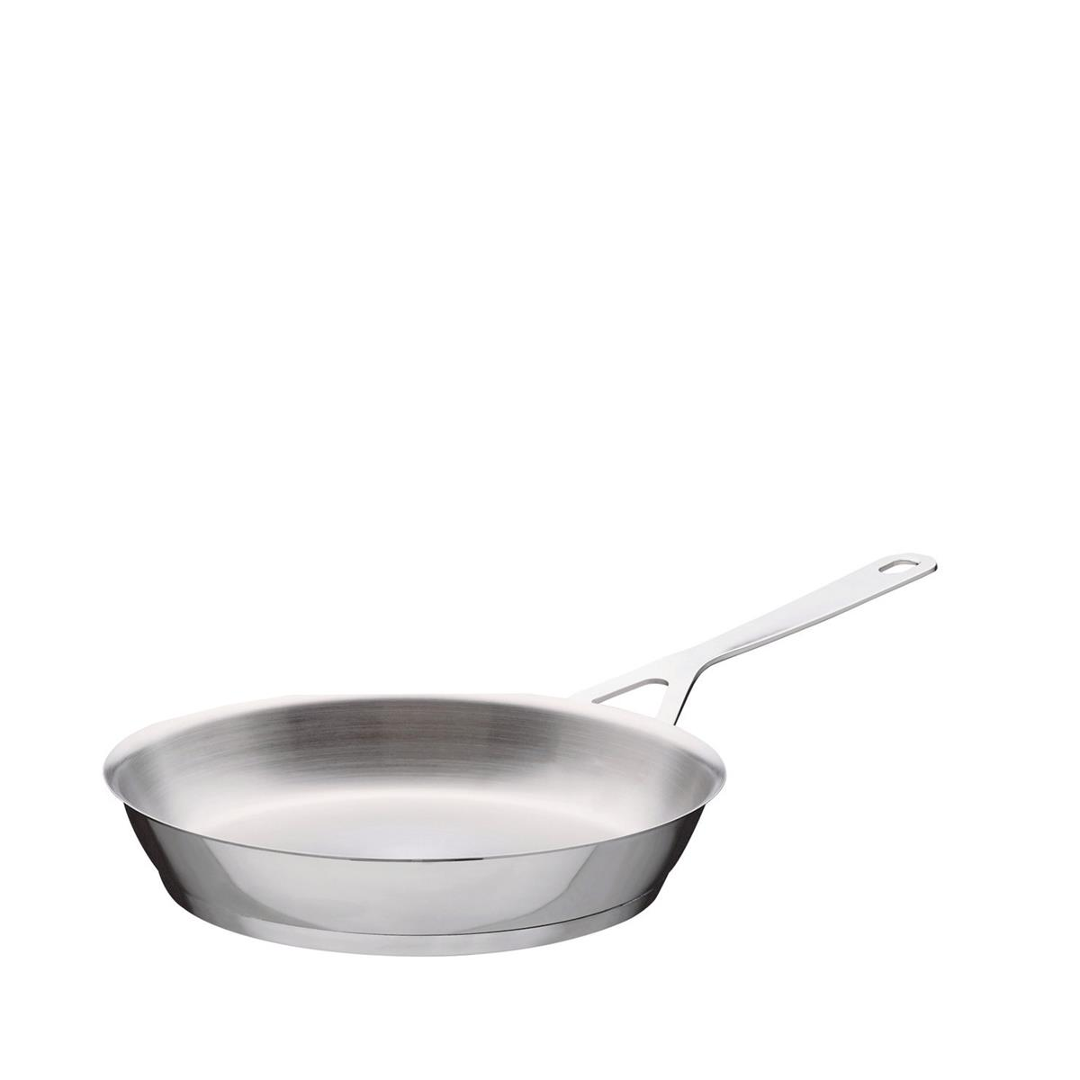 Alessi-Pots & Pans Frying pan with long handle in 18/10 stainless steel mirror polished