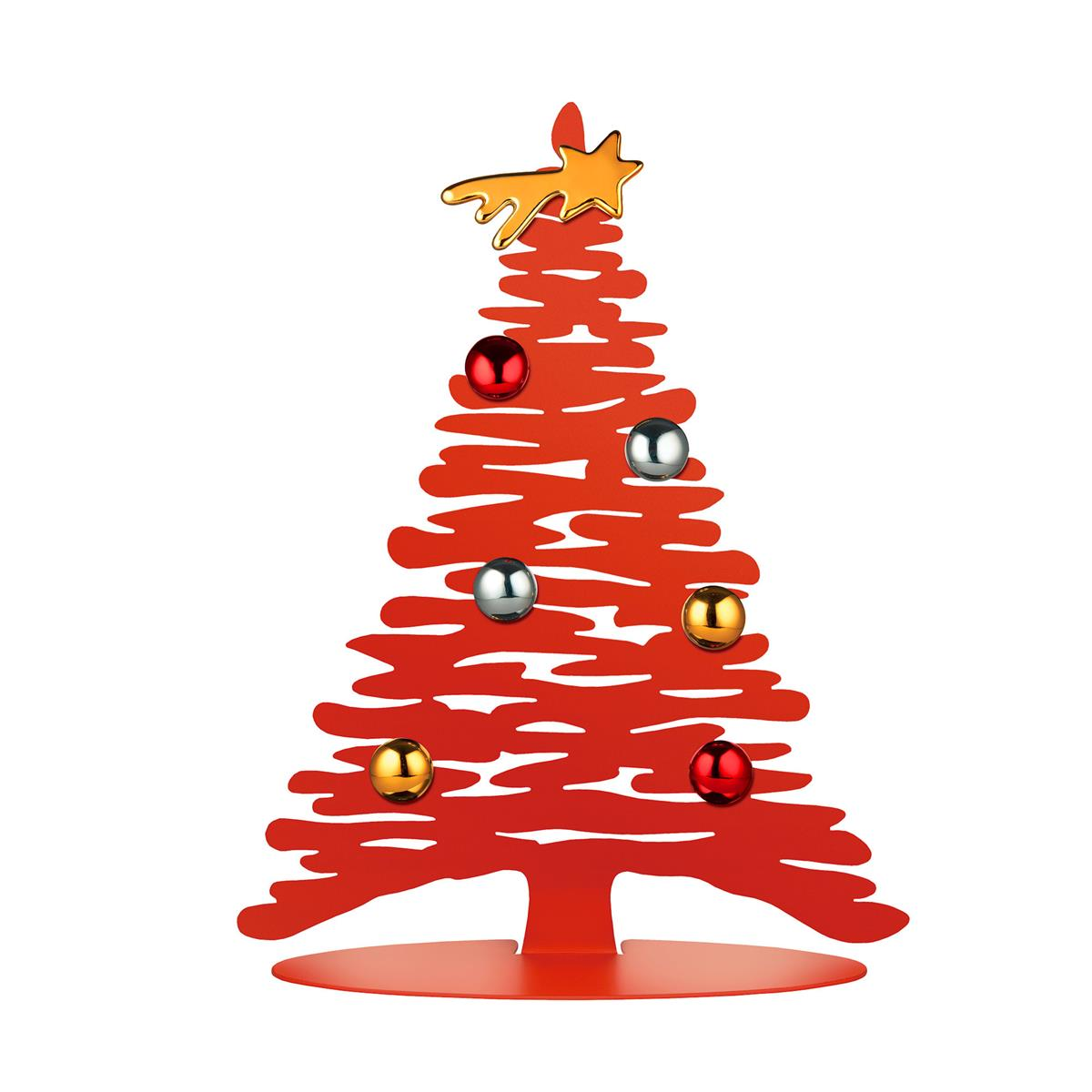 Alessi-Bark für Weihnachten Weihnachtsdekoration aus farbigem Stahl und Harz, rot mit Porzellanmagne