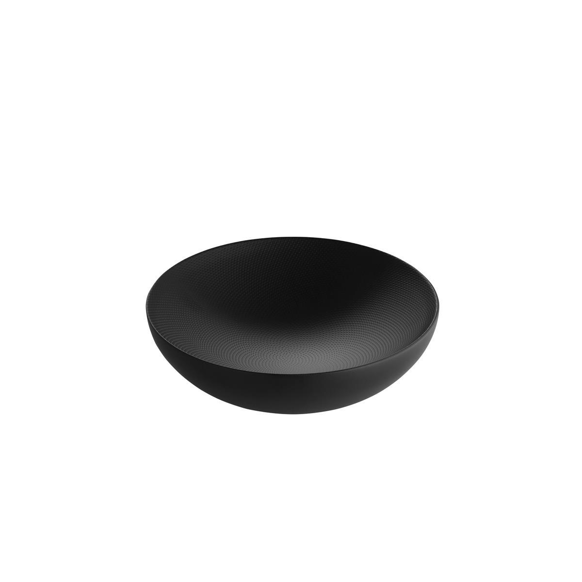 Alessi-Double Ciotola a doppia parete in acciaio colorato e resina, nero con decoro in rilievo