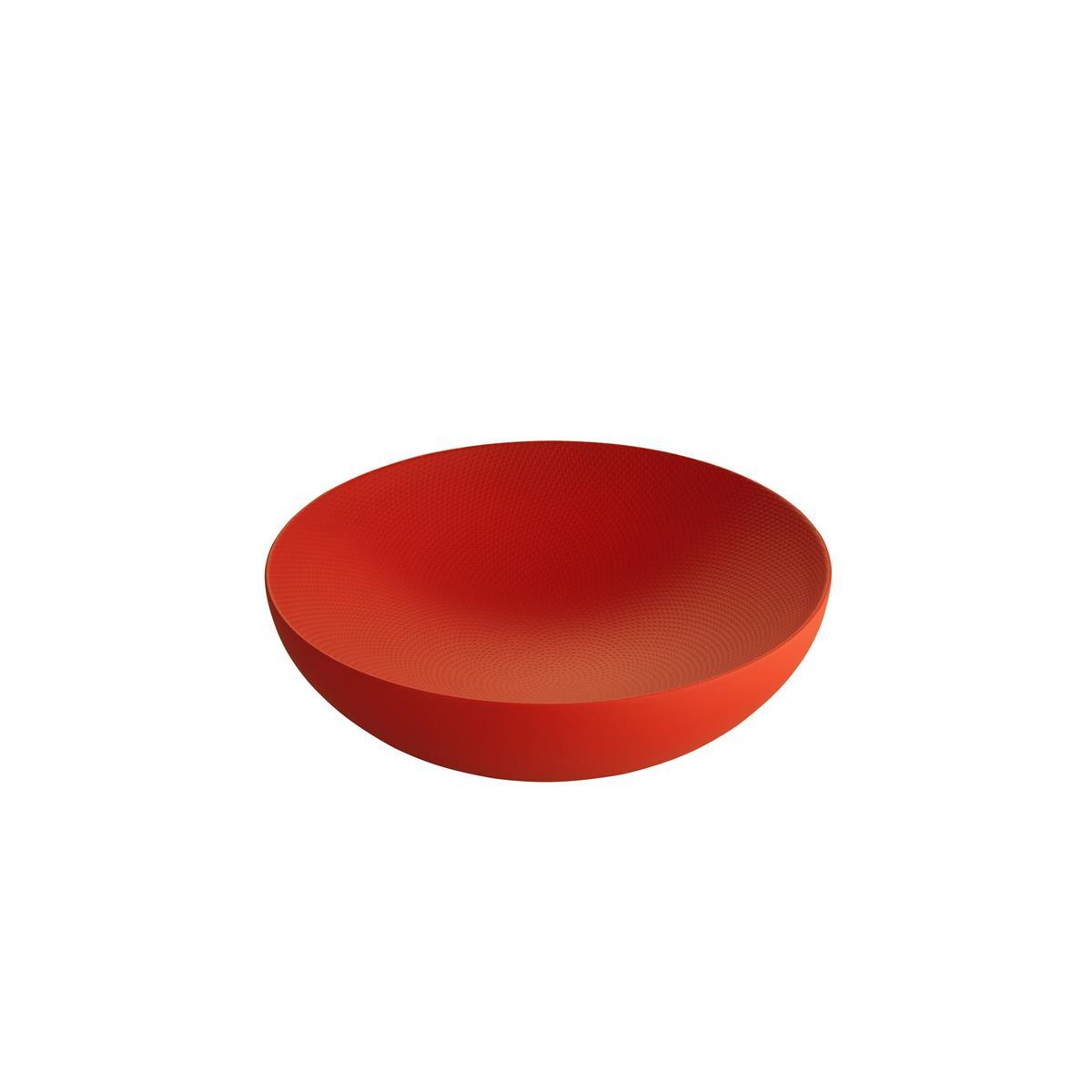 Alessi-Double Doppelwandige Schale aus farbigem Stahl und Harz, rot mit Reliefdekor