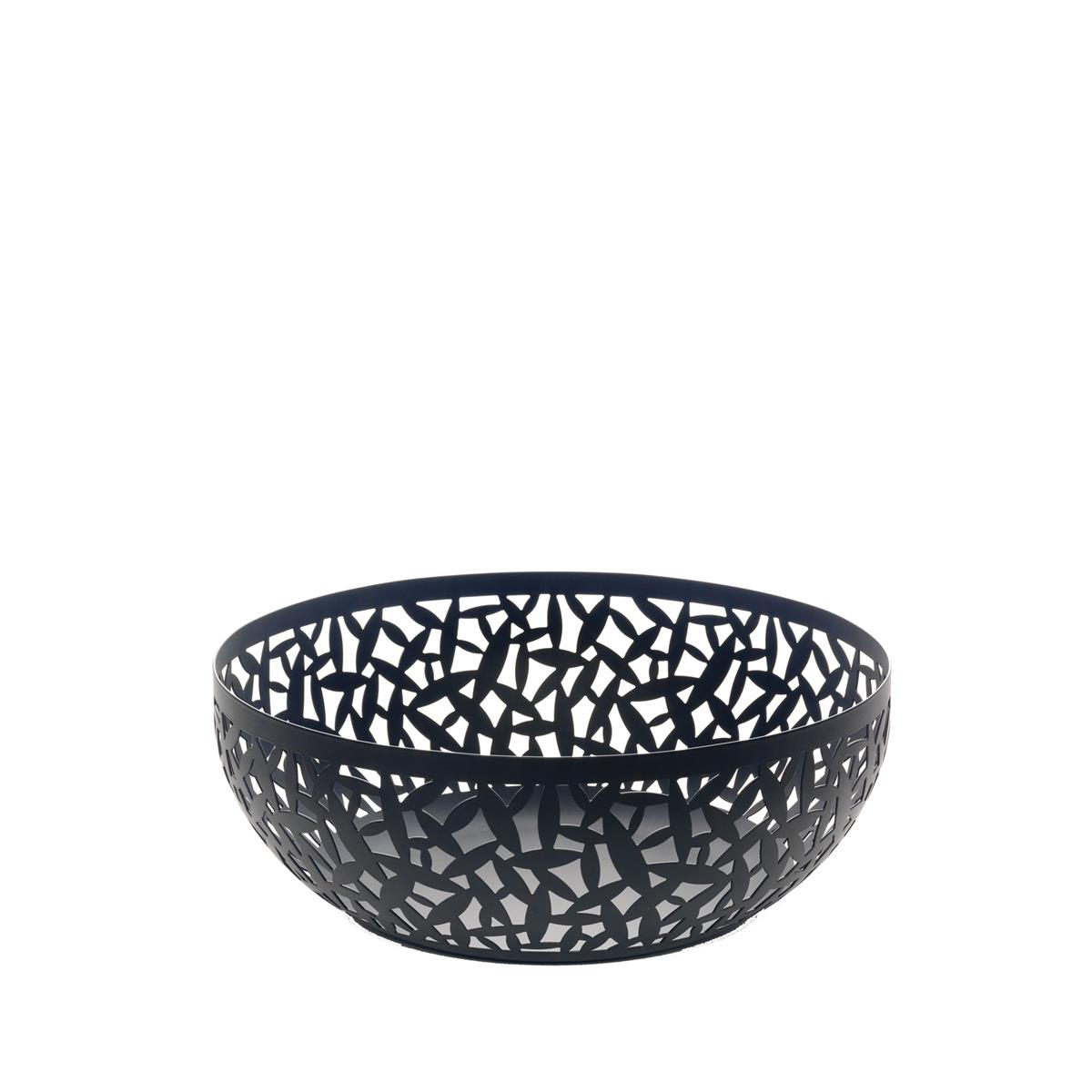 Alessi-CACTUS! Perforated fruit bowl in colored steel and resin, black-